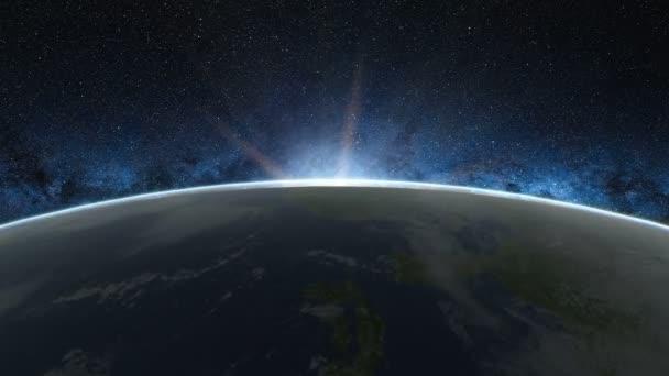 Krásný východ slunce pohled z vesmíru na planetě Zemi