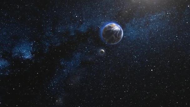 Země a měsíc, rotující a odstřeďování v otevřeném prostoru