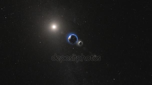 Planeta Země s satelit měsíc otočení v prostoru