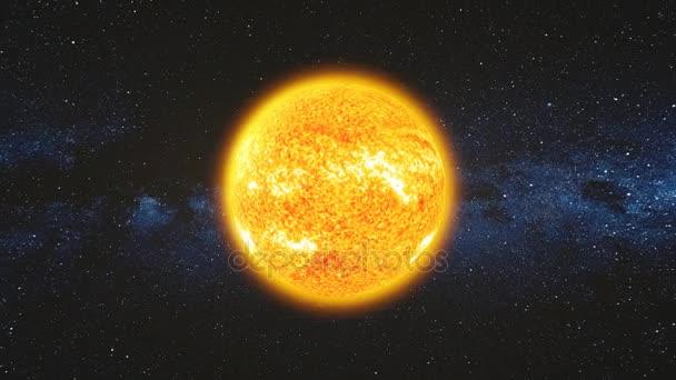 Místo na pohled na světlém povrchu Slunce s sluneční erupce