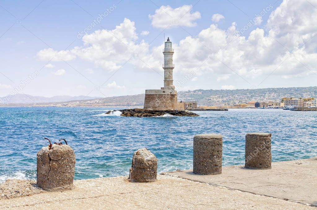 Lighthouse on the island of Crete Greece