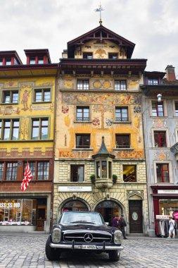 Retro car on the Weinmarkt square in Luzerne, Switzerland