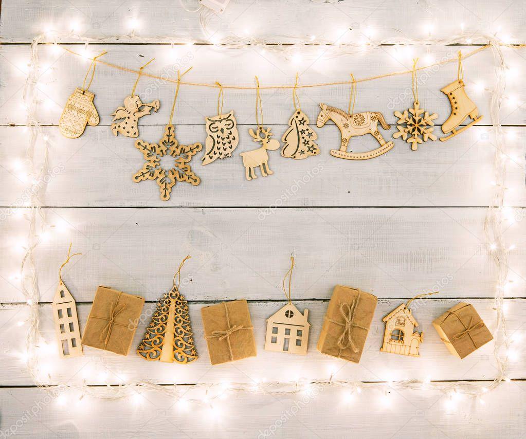 Decoración De Navidad Vintage En Mesa De Madera Cajas De