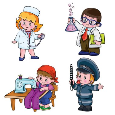 children in different professions