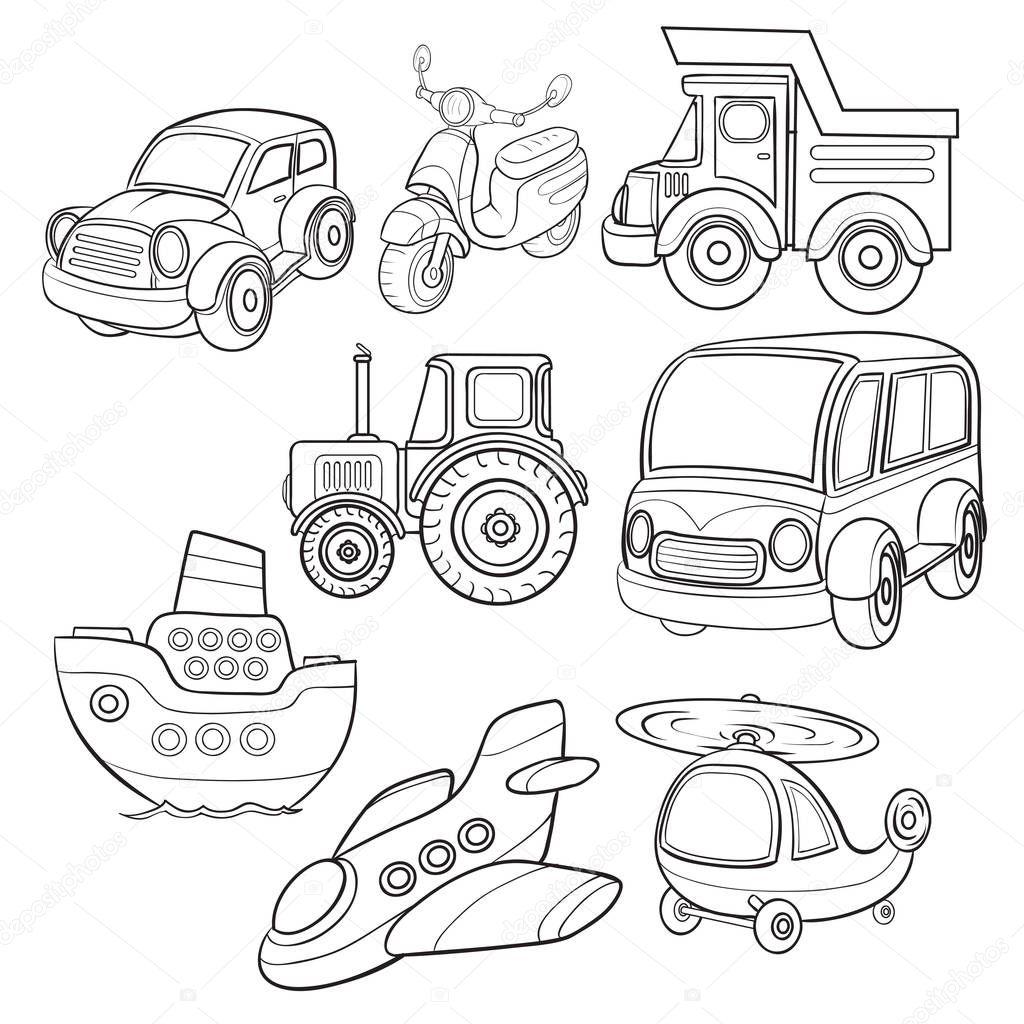 transportation icons cartoon contour