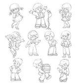 kreslené postavičky dětí