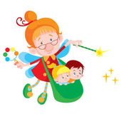 Fotografie cartoon characters of fairy with kids in bag