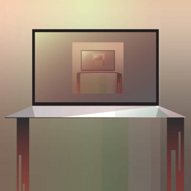 picture projection of tv in tv in green tones, picture, vector illustration