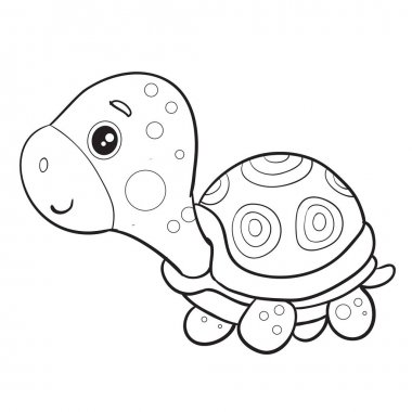 toy turtle stands and waits for someone to play with it, isolated object on a white background,