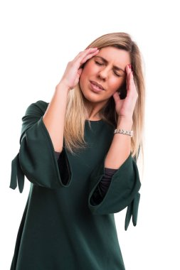 woman with strong headache