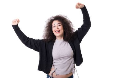 happy woman raising her arms