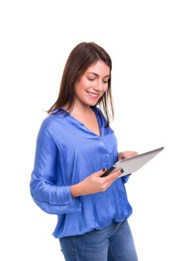 beautiful woman working with new tablet computer