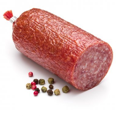 Salami smoked sausage and peppercorns isolated
