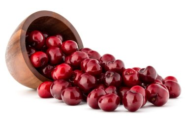 cherry berries in wooden bowl