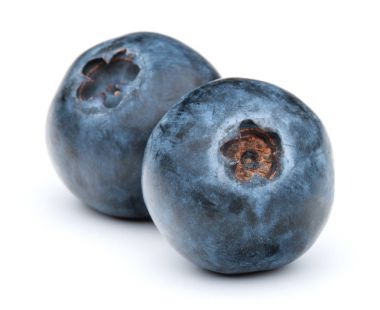 blueberries or blue whortleberries on white