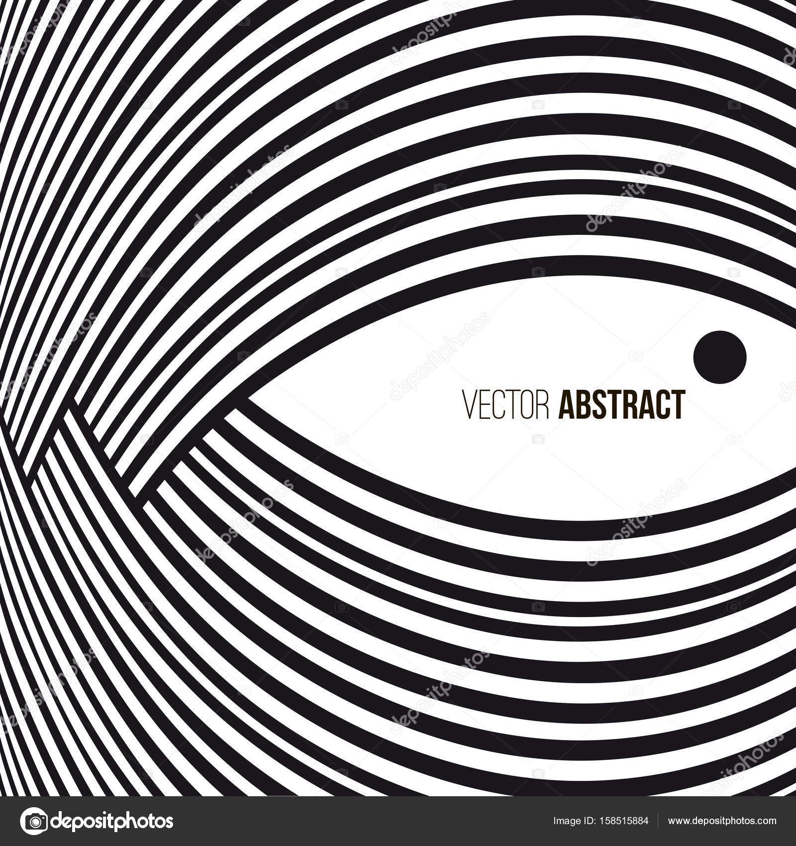 abstrait. lignes de courbe noir et blanc avec cadre pour message
