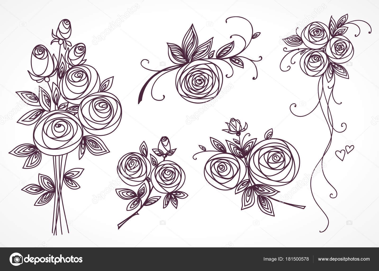 Le Rose Hanno Impostato Collezione Di Mazzi Di Rose Disegno A Mano