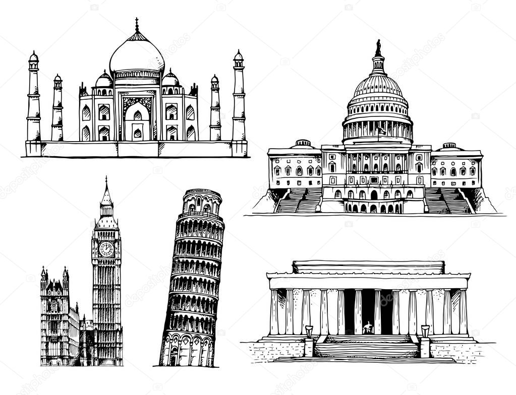 Taj Mahal, Capitol Building, Elizabeth Tower (Big Ben), Tower of Pisa, Lincoln Memorial vector illustration isolated on white background