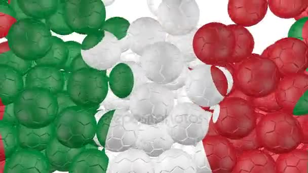 4K Soccer balls is falling down on a white and forming a italy flag in front of the camera