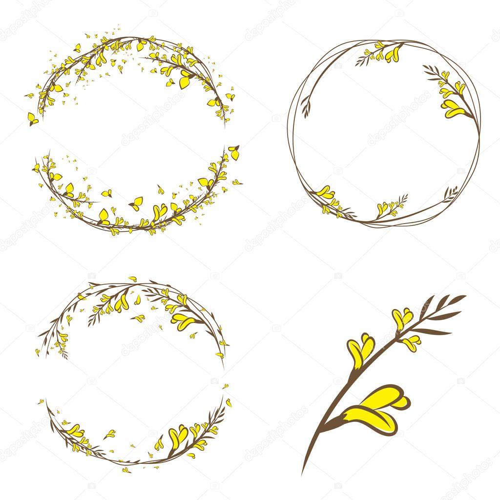 Broom Yellow Flower Decorative Frame Set