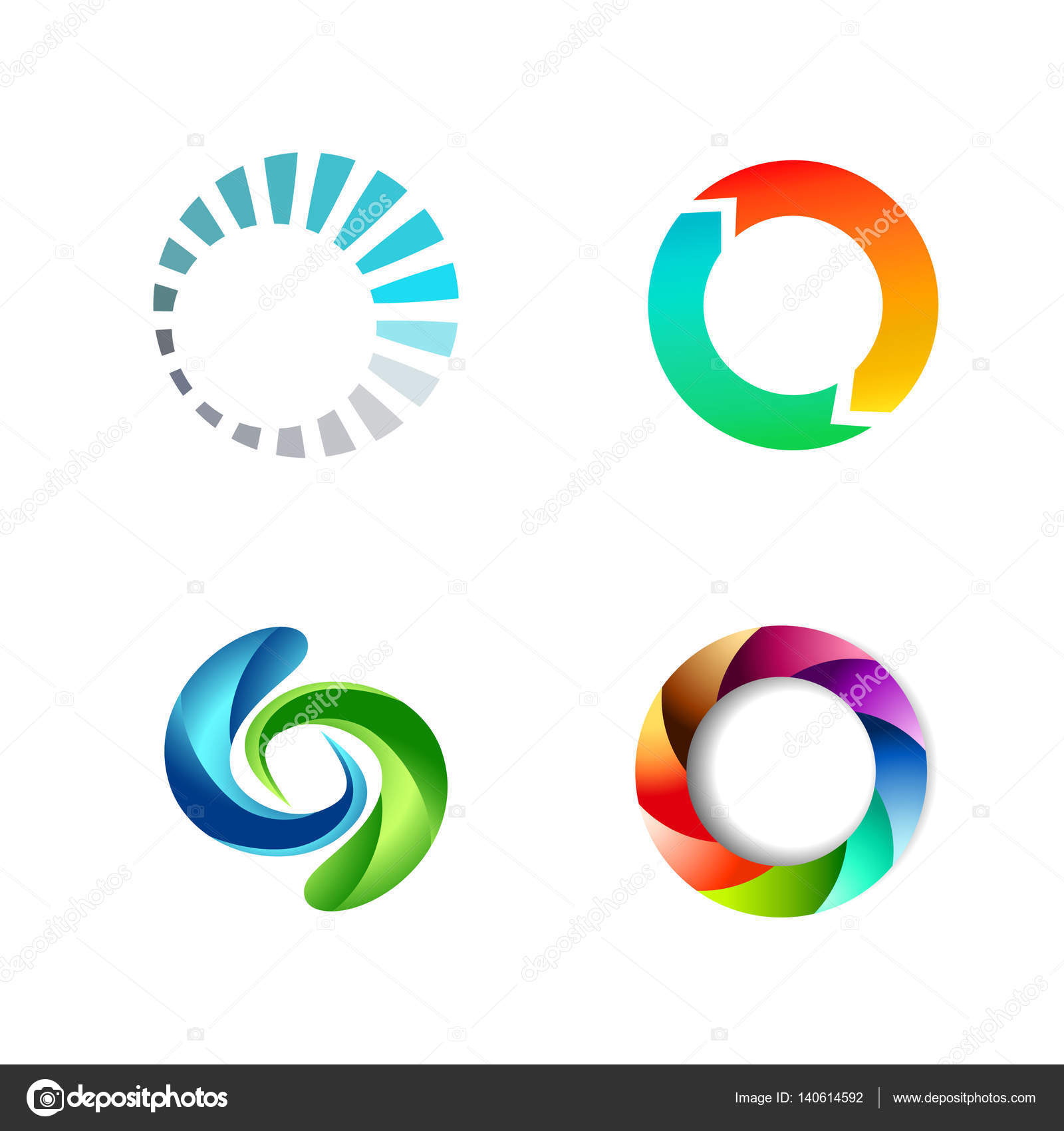 Set Of Colorful Spa Logo Vectors: Different Round Circle Sign Logo Set Vector Image By S