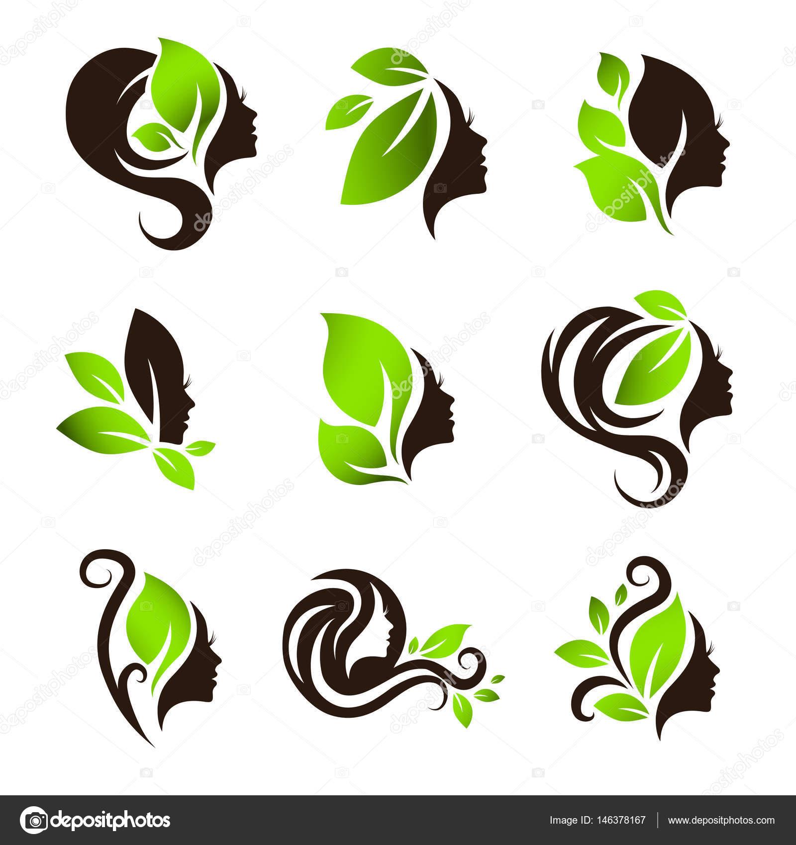 Natural Hair Logo Design Woman Natural Beauty Hair Spa Salon Logo Design Set Stock Vector C S Razvodovskij 146378167