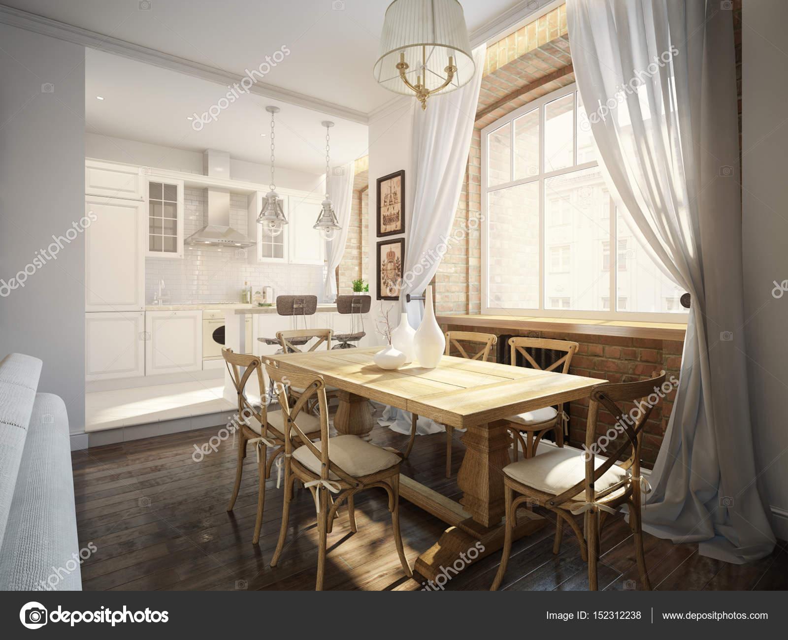 Moderne klassische traditionelle Esszimmer und weiße Küche ...