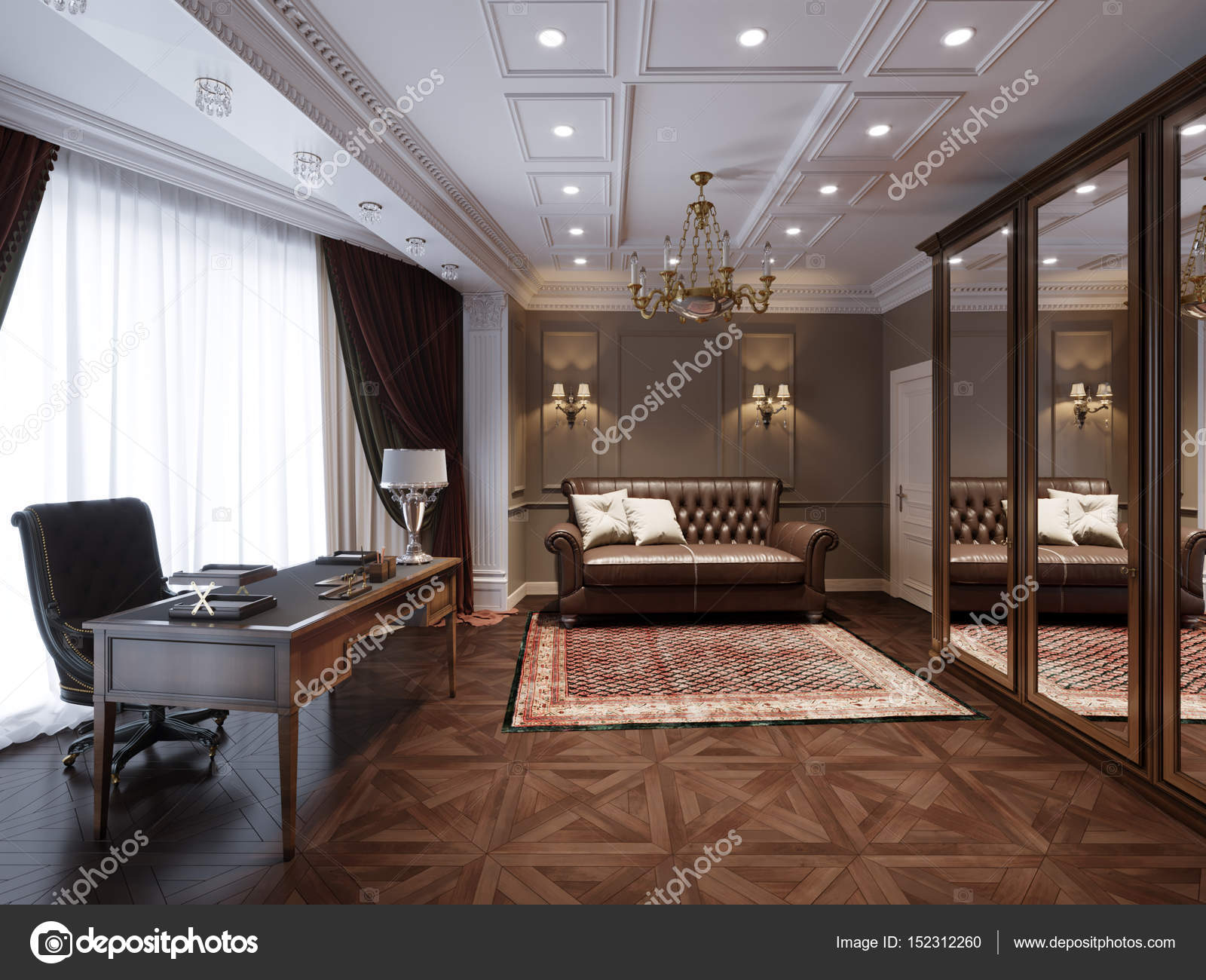 Traditional classic home office interior design 3d rendering photo by
