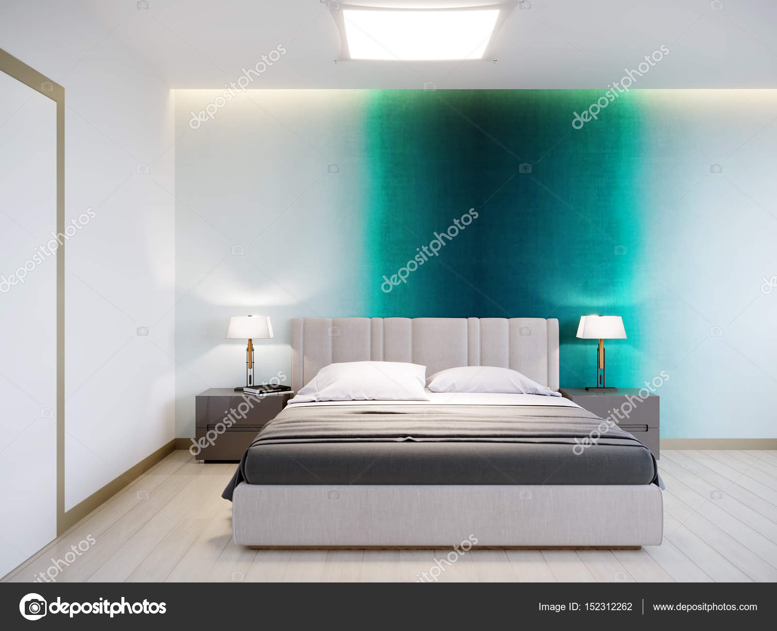 Camera da letto moderna contemporanea urbano Interior Design — Foto ...