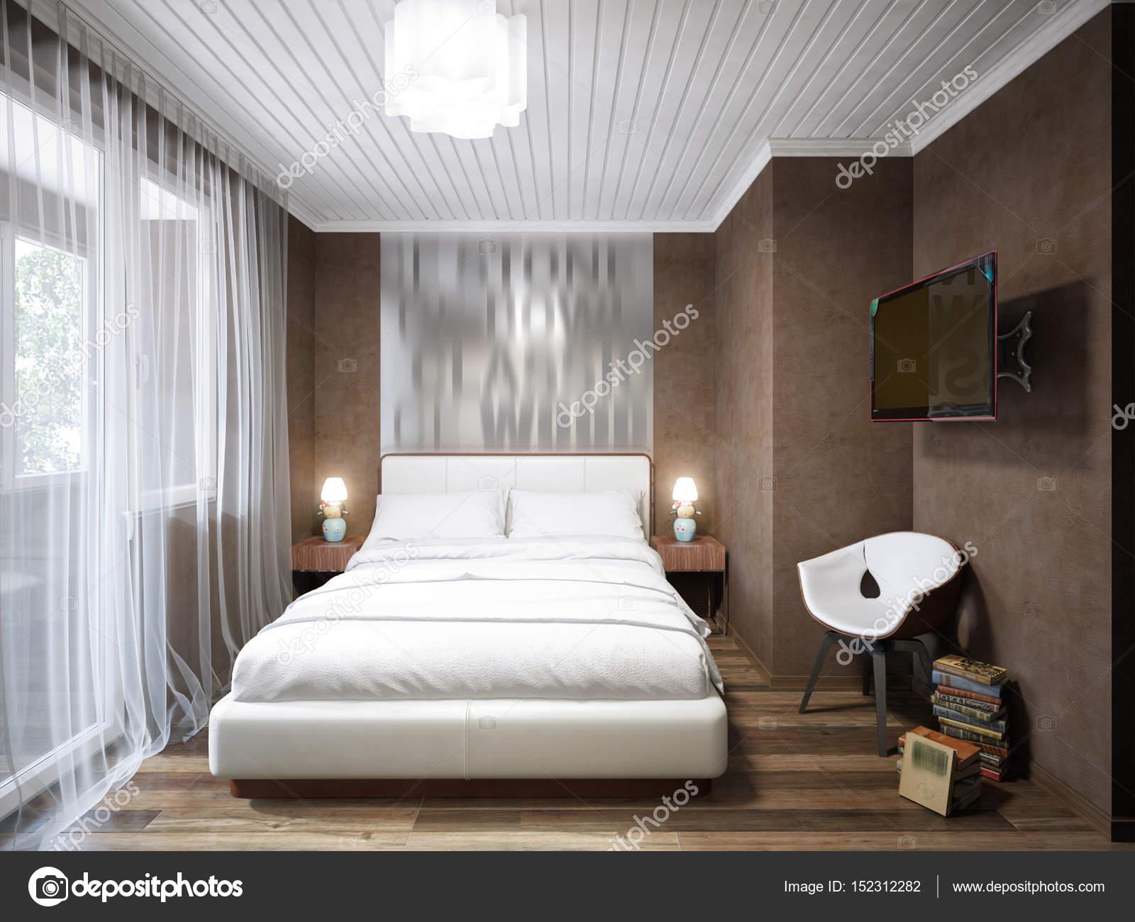 Dise o de interiores de dormitorio peque o moderno for Diseno de habitacion de estilo contemporaneo