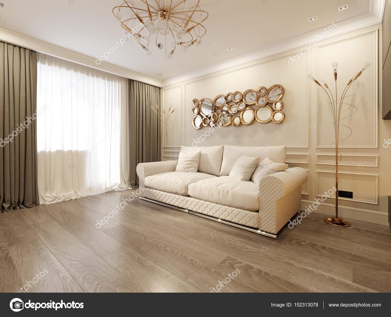 Moderne klassieke Beige woonkamer interieurdesign — Stockfoto ...