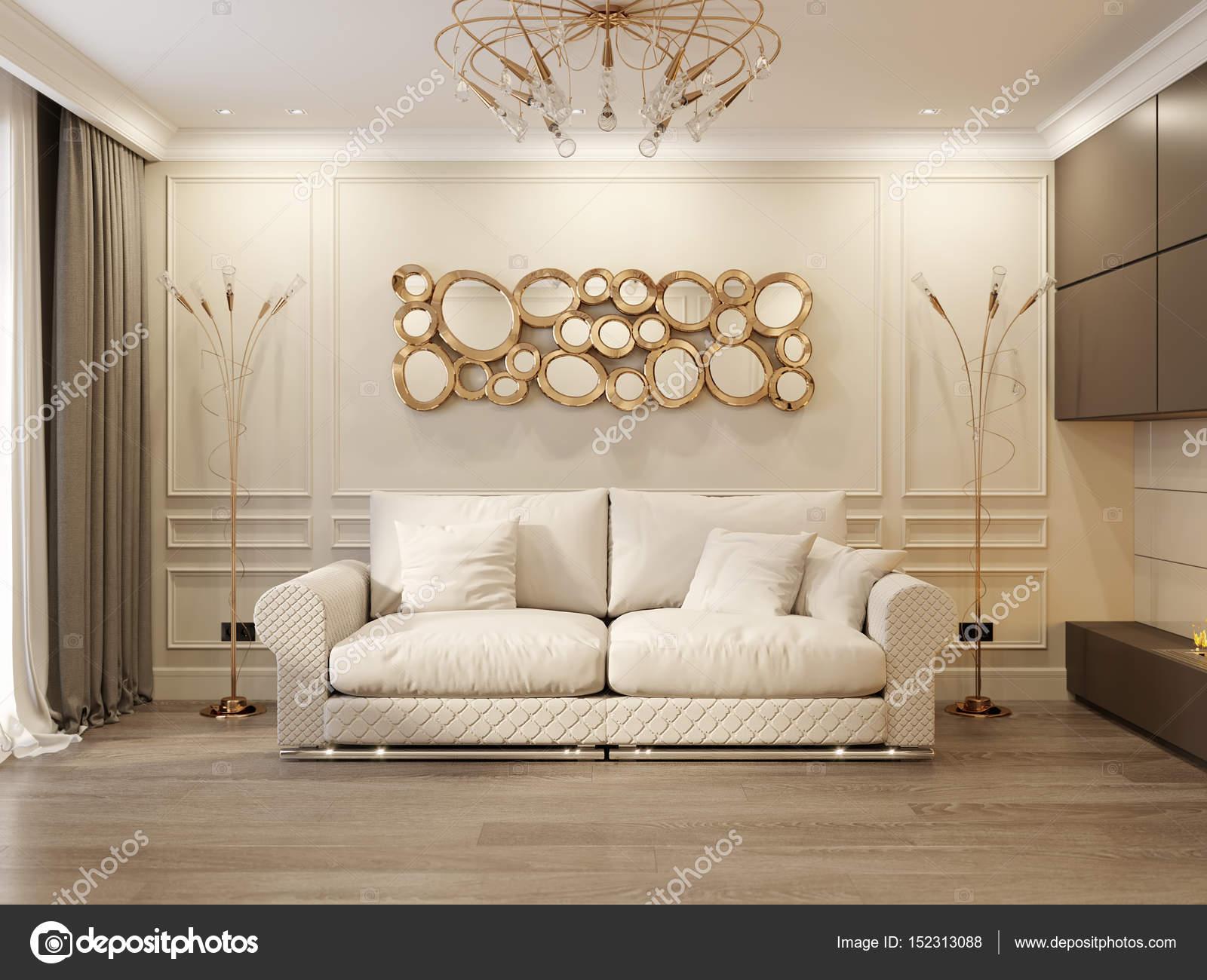 Modern Classic Beige Living Room Interior Design — Stock Photo ...