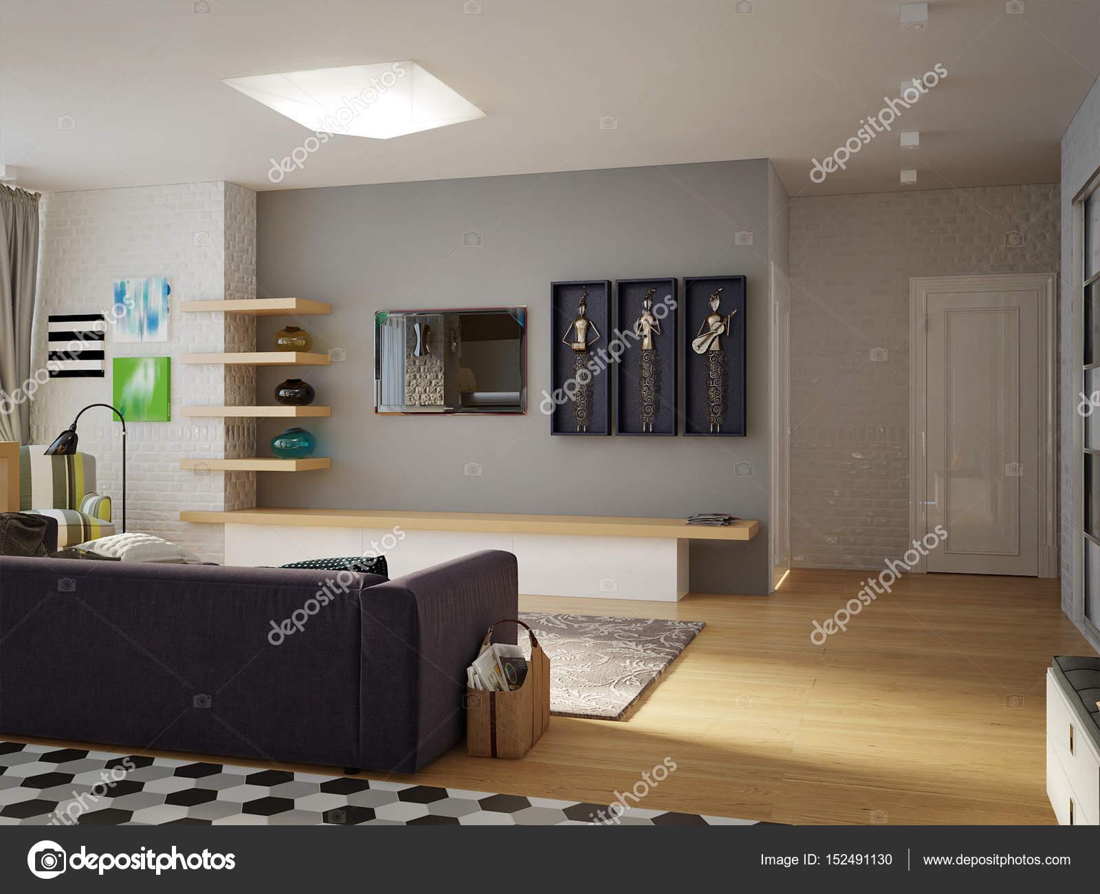 Modernen städtischen zeitgenössischen Studio offenes Wohnzimmer ...