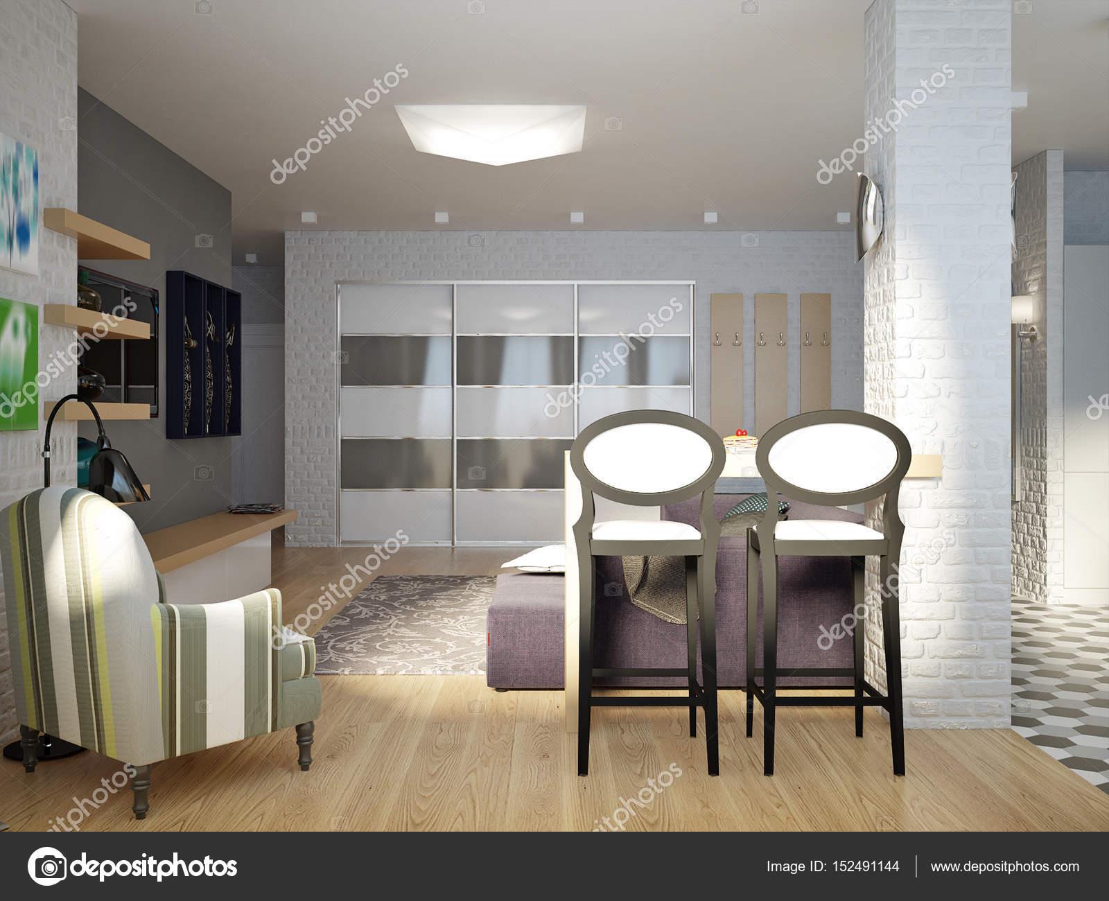 Modern Urban Contemporary Studio open living room, dining room a ...