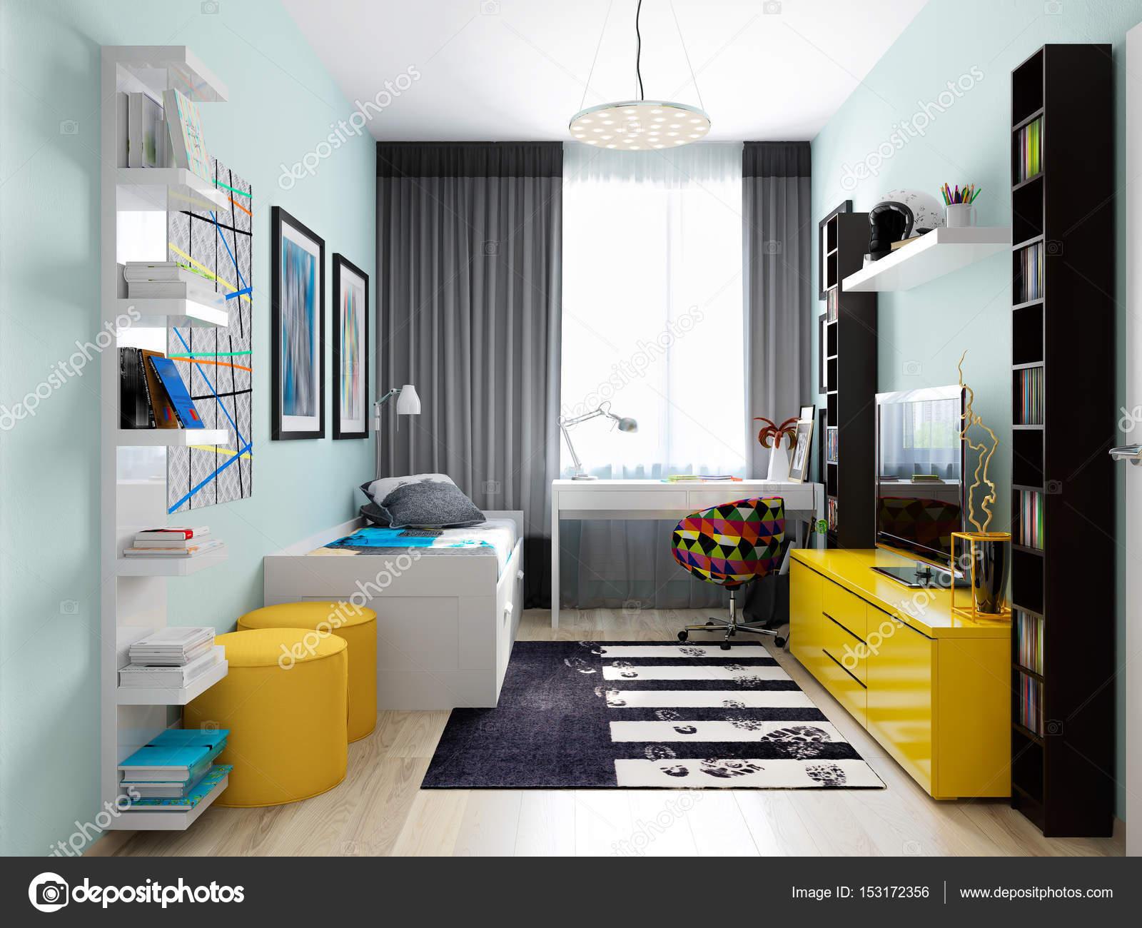 Moderne städtische zeitgenössische Kinderzimmer — Stockfoto ...