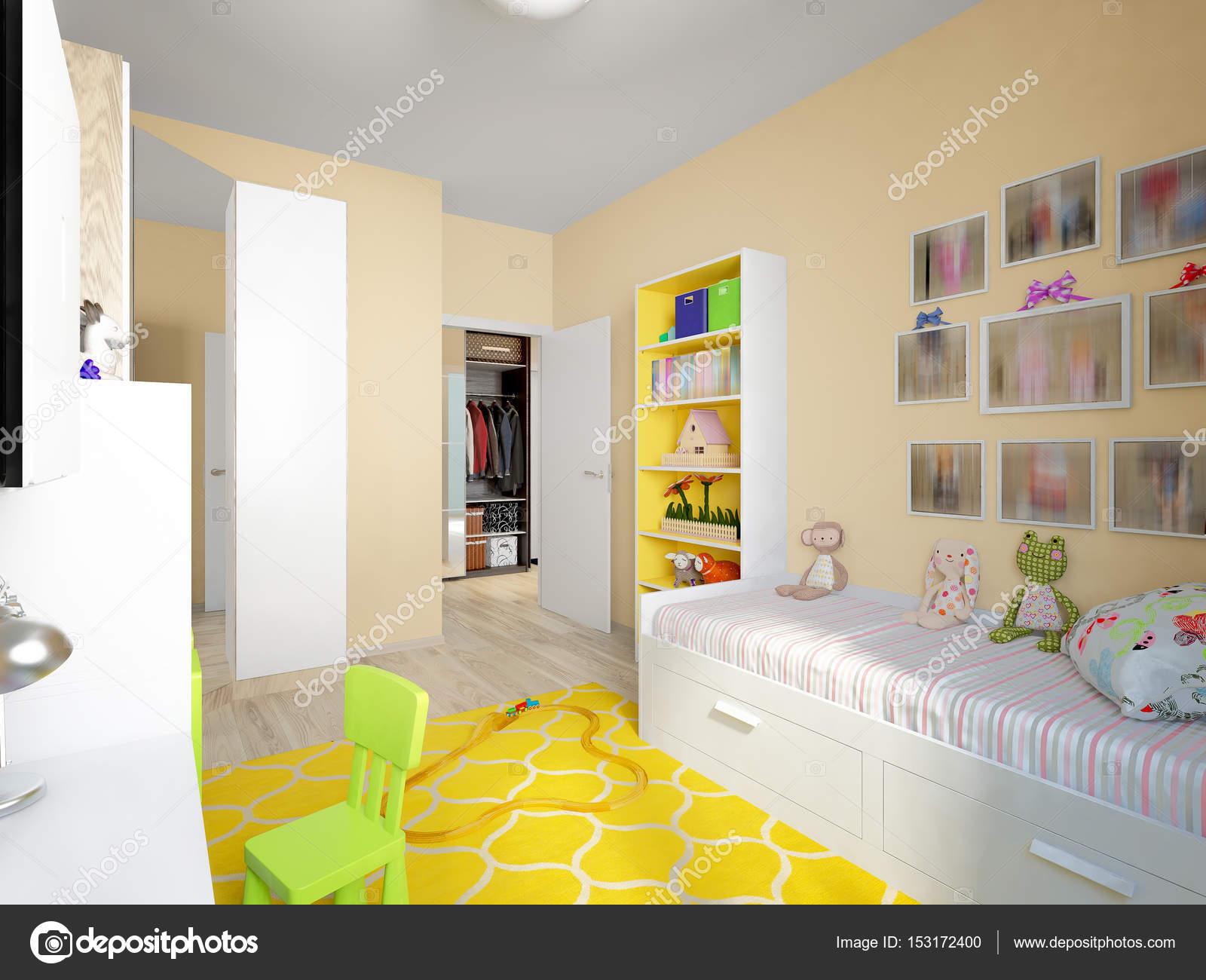Moderne stedelijke hedendaagse kinderen kamer interieur