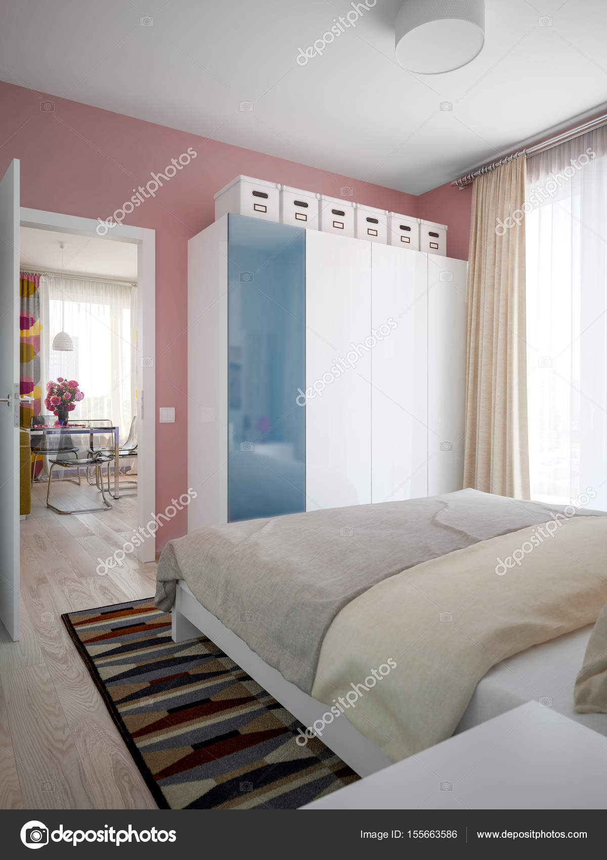 Städtischen zeitgenössischen modernen skandinavischen Schlafzimmer ...