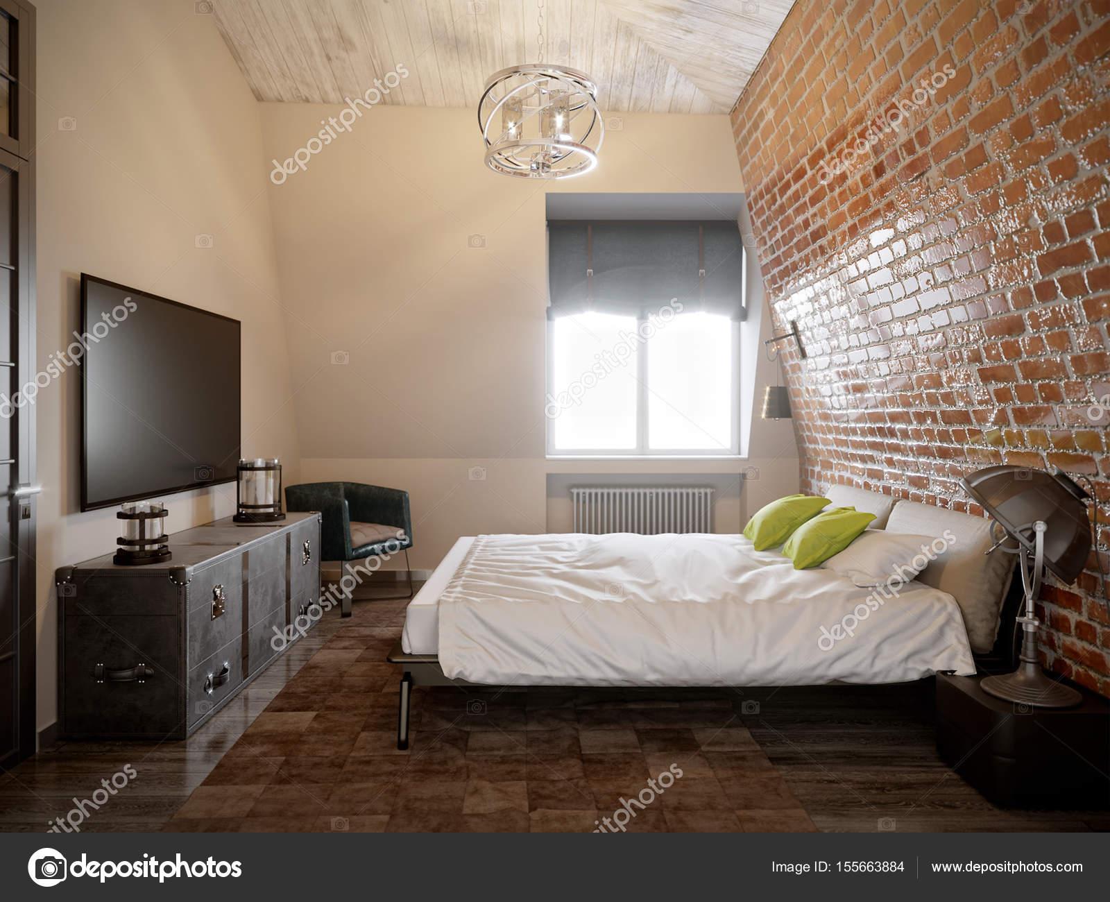 Camera da letto Loft scandinavo moderno contemporaneo urbano ...