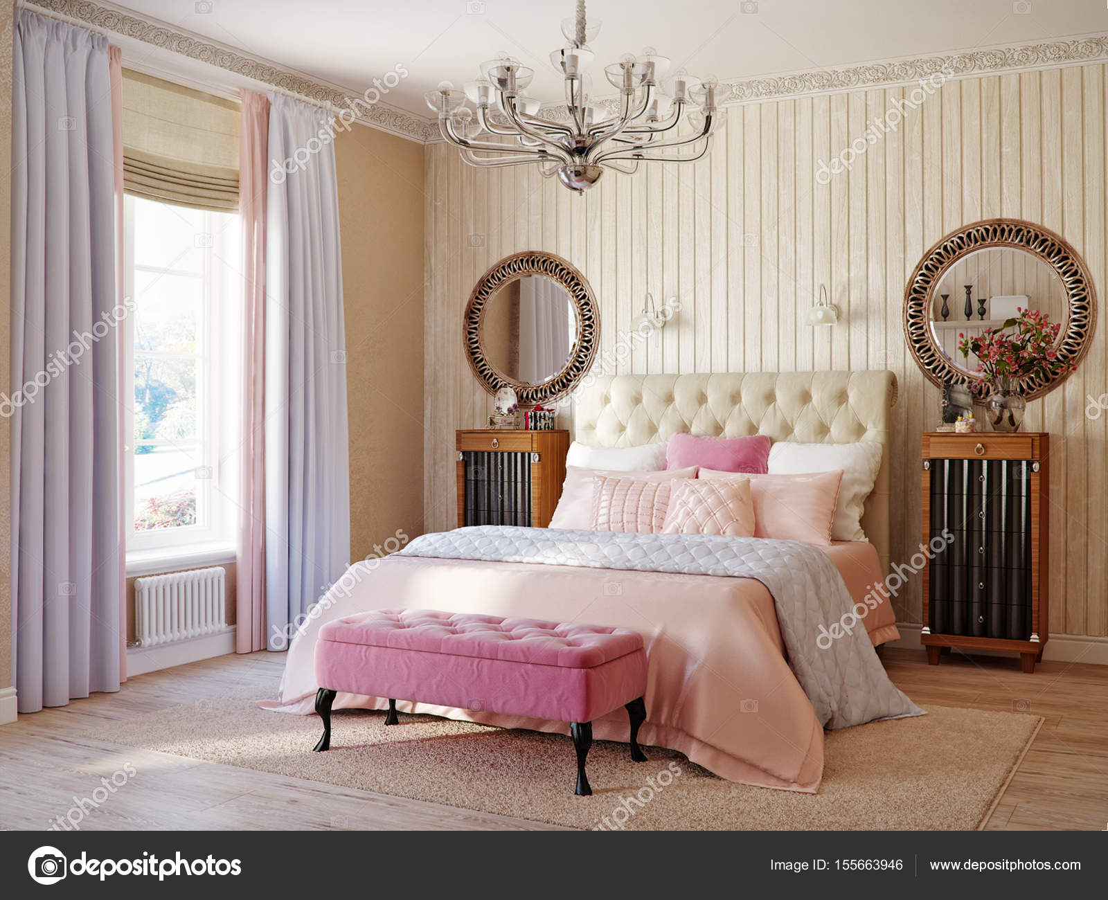 Traditionelle Klassische Moderne Provence Rustikale Schlafzimmer U2014 Stockfoto
