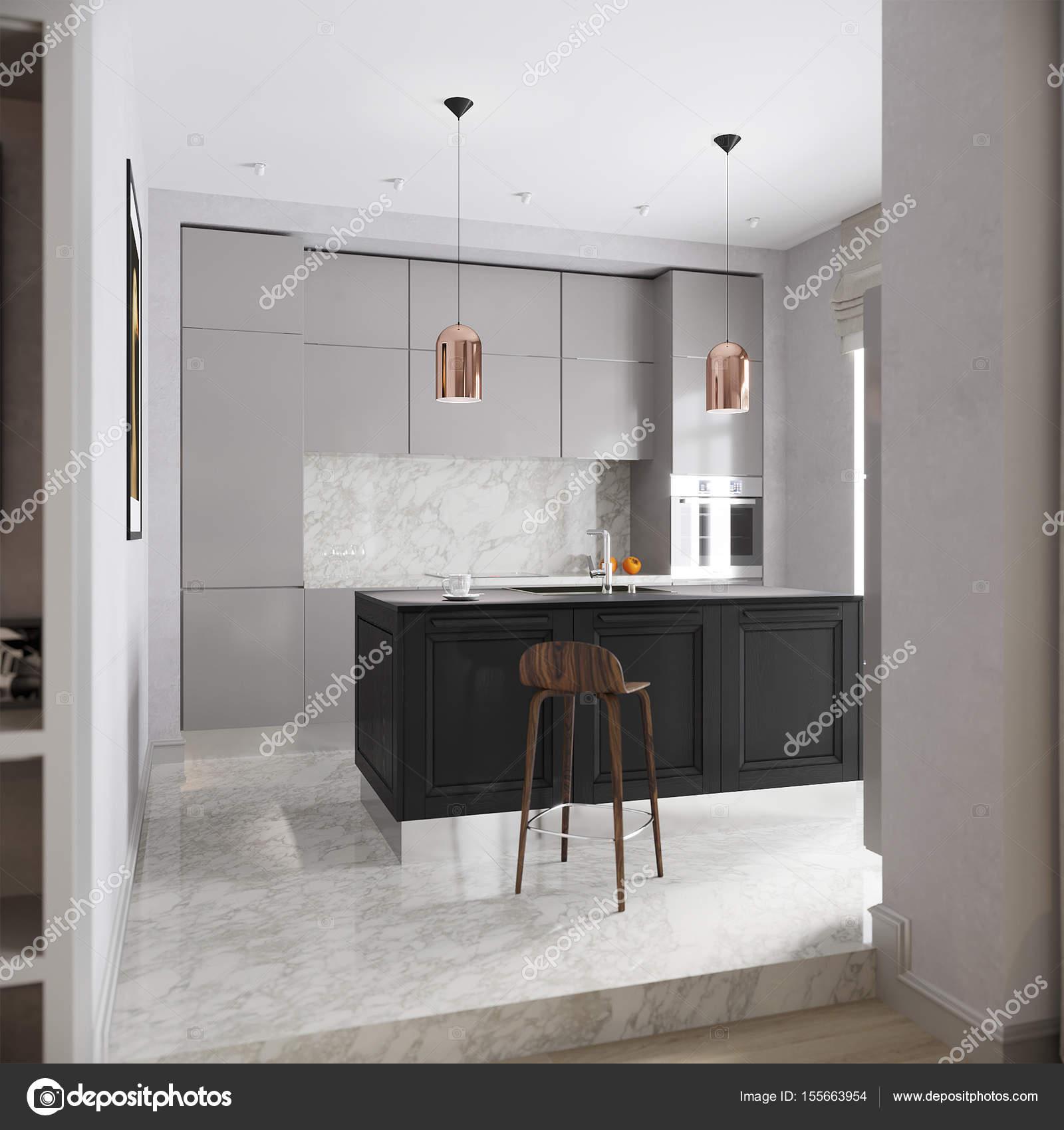 Interior urbano contemporáneo gris cocina — Foto de stock ...