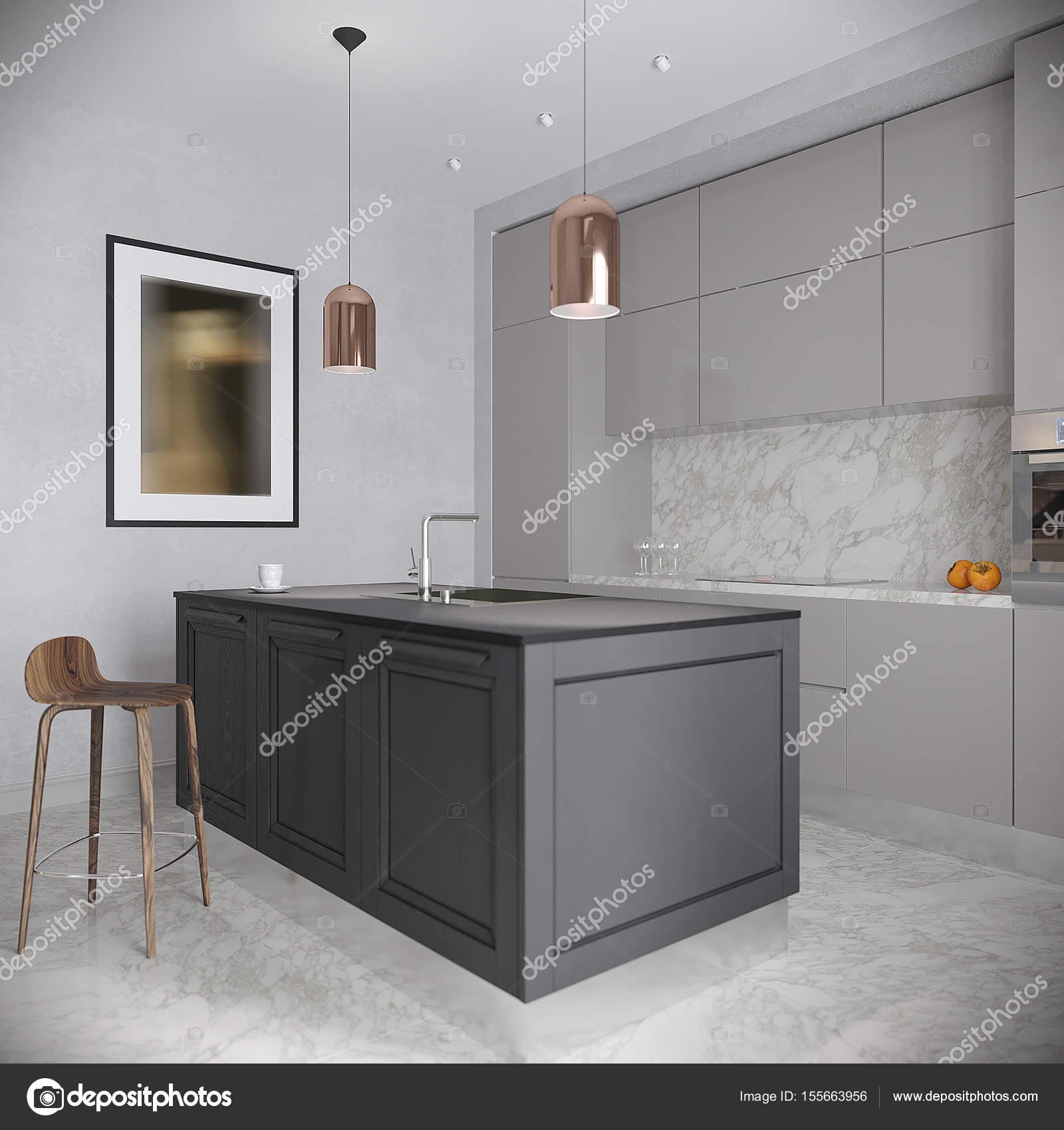Moderne städtische zeitgenössische grau Küche Interieur — Stockfoto ...
