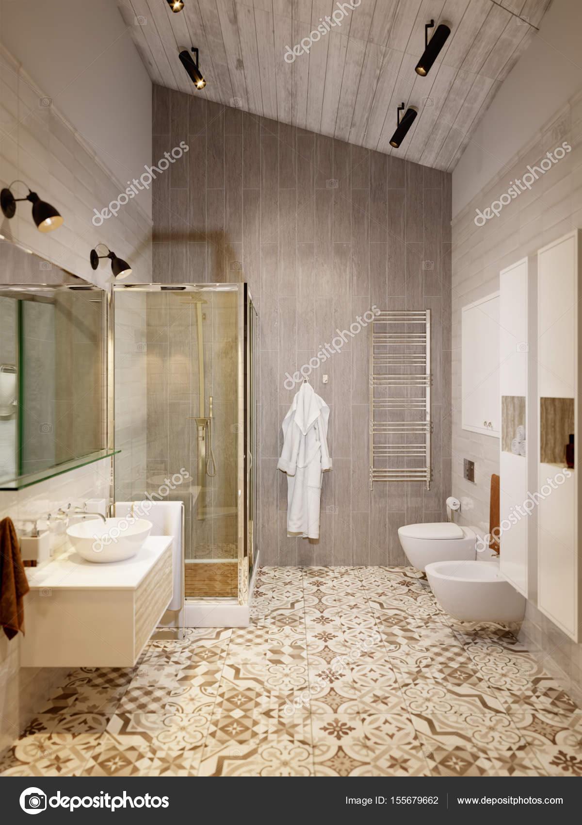 Rustieke Provence Loft badkamer-douche Wc — Stockfoto © svetlanafeo ...