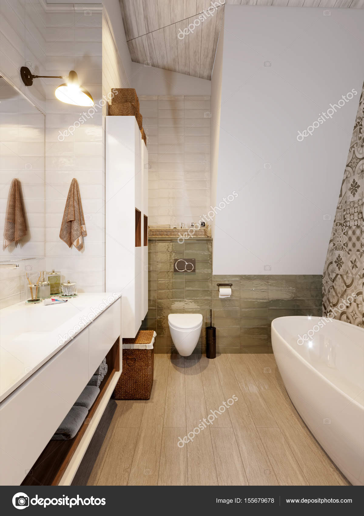 rustieke provence loft badkamer wc kamer interieur stockfoto