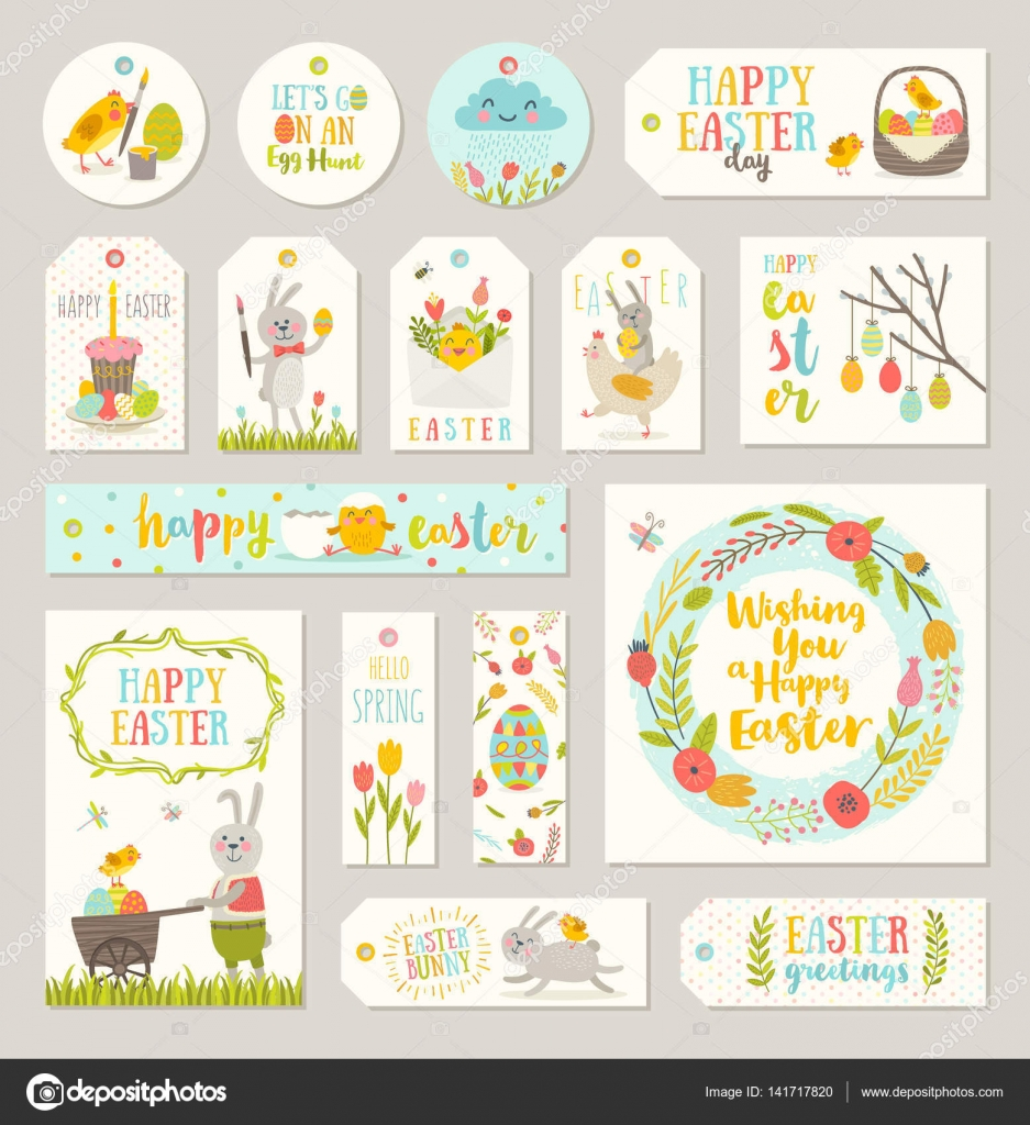 Set of easter gift tags and labels with cute cartoon characters set of easter gift tags and labels with cute cartoon characters and type design easter negle Images