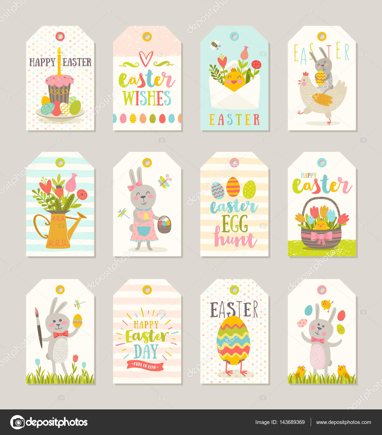 Set of easter gift tags and labels with cute cartoon characters set of easter gift tags and labels with cute cartoon characters and type design easter negle Image collections
