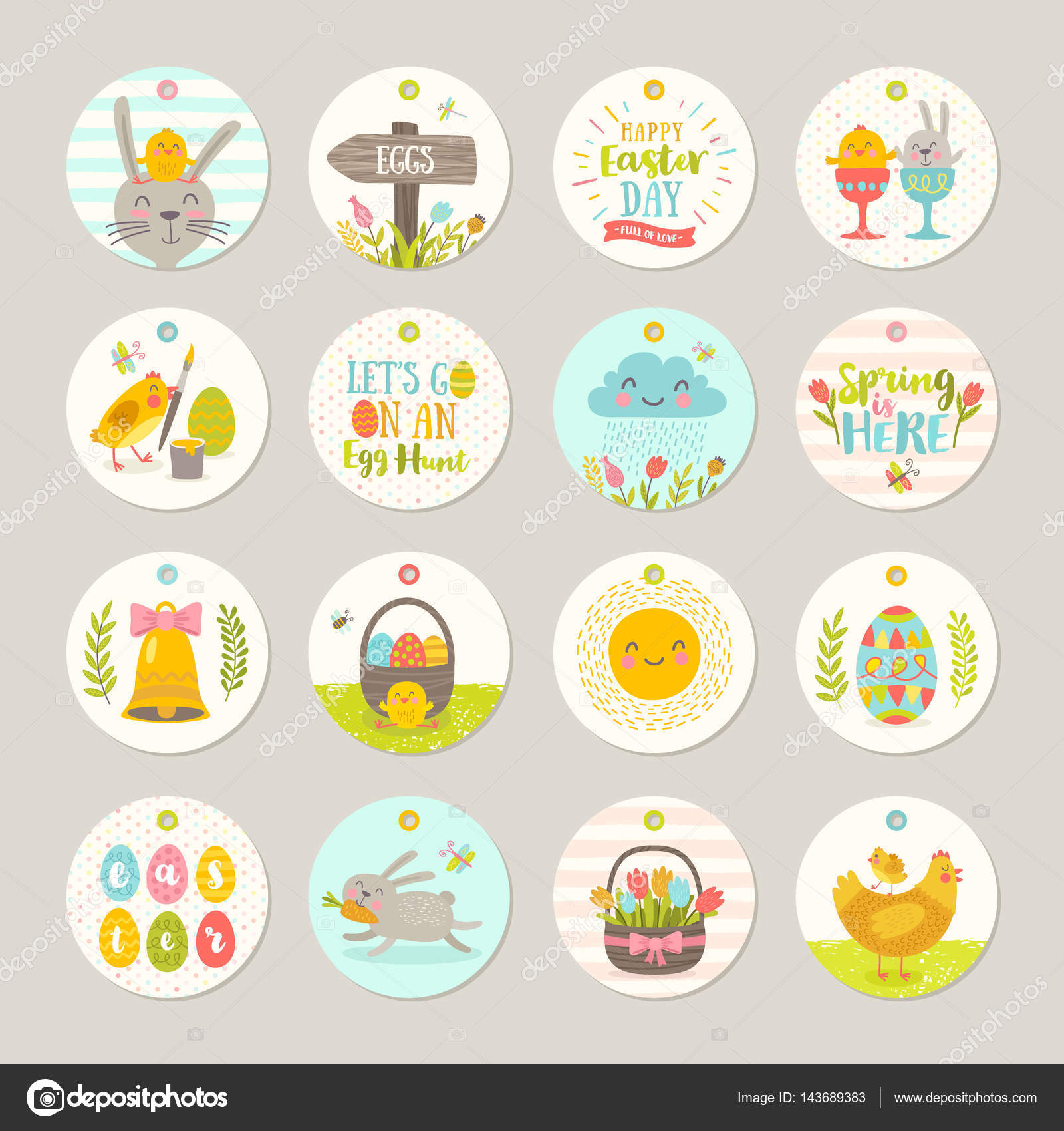 Set of easter gift tags and labels with cute cartoon characters set of easter gift tags and labels with cute cartoon characters and type design easter negle