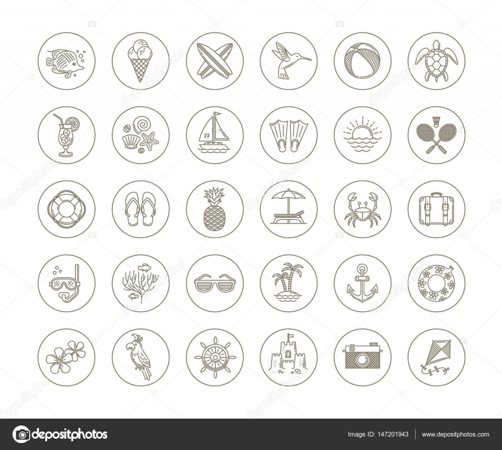 Line drawing vector icons summer vacation holidays and travel line drawing vector icons summer vacation holidays and travel objects items signs and symbols vector by s e r g o biocorpaavc Images