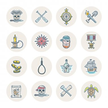 Pirate vector set - line drawn different objects, items, signs and symbols