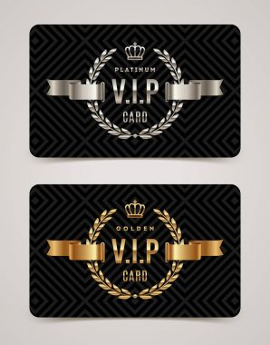 VIP golden and platinum card - type design with crown, laurel wreath and ribbon on a black pattern background. Vector illustration.