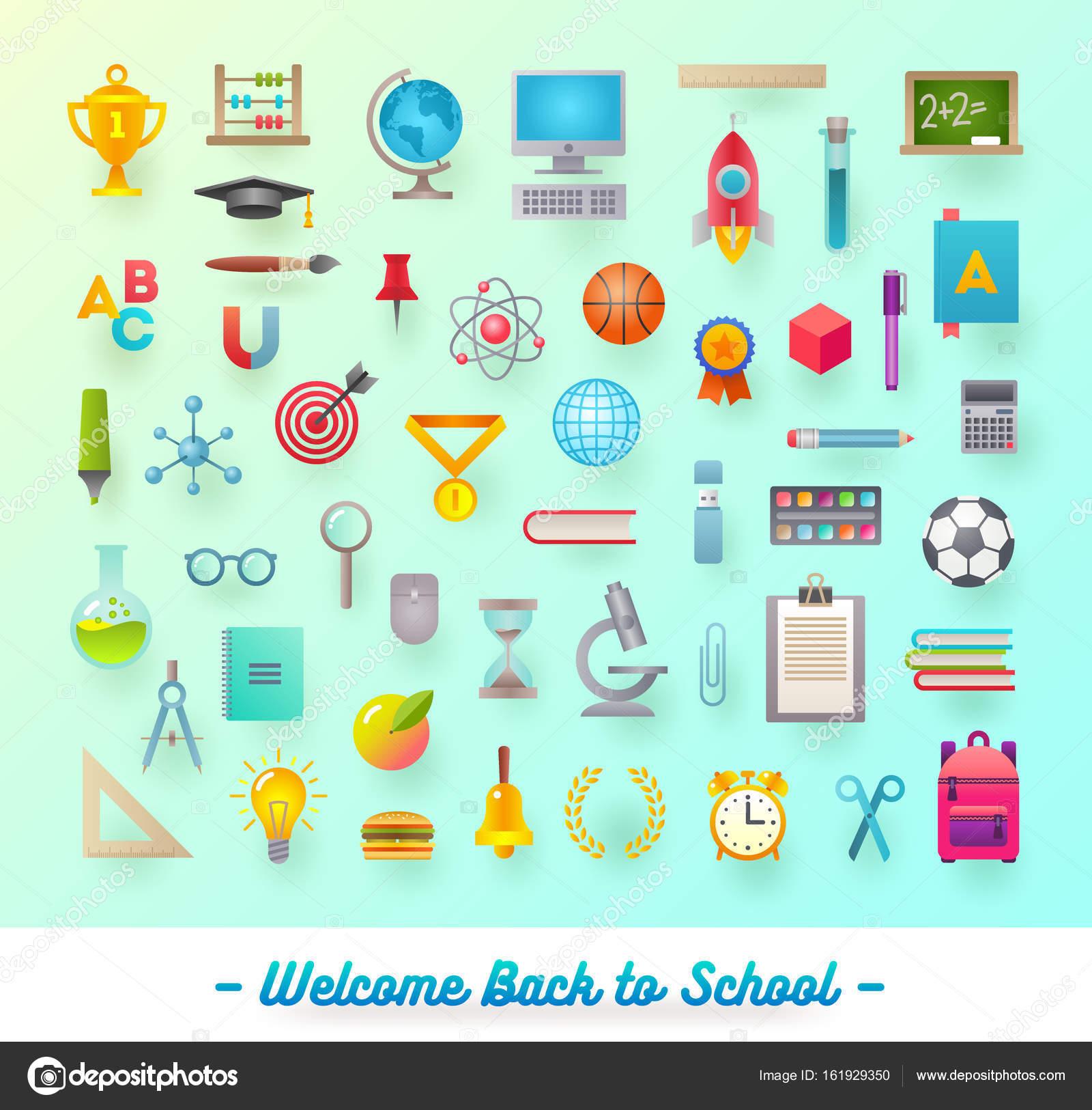 4b208a2f11 Insieme di oggetti per la scuola, oggetto, forniture ed accessori -  illustrazione vettoriale - immagini: di oggetti per la scuola — Vettoriali  di S-E-R-G-O
